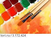 Купить «Акварельные краски и кисти», фото № 3172424, снято 20 ноября 2011 г. (c) Сергей Белов / Фотобанк Лори