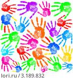 Купить «Фон из цветных отпечатков ладони», фото № 3189832, снято 23 марта 2019 г. (c) Elnur / Фотобанк Лори