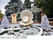"""Купить «Снегопад в Сочи: заснеженная клумба у центрального входа в парк """"Ривьера""""», эксклюзивное фото № 3207856, снято 19 января 2012 г. (c) Анна Мартынова / Фотобанк Лори"""