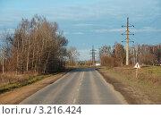 Купить «Калужская область. Дорога к городу Воротынск», эксклюзивное фото № 3216424, снято 5 ноября 2011 г. (c) lana1501 / Фотобанк Лори