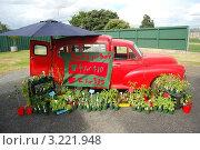 Красная машина на фермерском рынке, продающая растения (2011 год). Редакционное фото, фотограф Daniil Nasonov / Фотобанк Лори