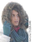 Купить «Портрет молодой женщины в куртке с меховым капюшоном в туманный день», фото № 3226040, снято 27 октября 2010 г. (c) CandyBox Images / Фотобанк Лори
