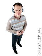 Мужчина с гарнитурой. Стоковое фото, фотограф Дмитрий Поляков / Фотобанк Лори