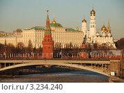 Купить «Москва. Вид на Кремль, Большой Каменный мост и Москву-реку зимой», эксклюзивное фото № 3234240, снято 29 января 2012 г. (c) lana1501 / Фотобанк Лори