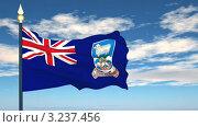 Купить «Развевающийся флаг Фолклендских островов», видеоролик № 3237456, снято 9 февраля 2012 г. (c) Михаил / Фотобанк Лори