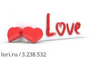 """Купить «Два красных сердца и слово """"LOVE"""" на белом фоне», иллюстрация № 3238532 (c) Евгений Шадрин / Фотобанк Лори"""