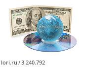Купить «Мировая валюта. Глобус с видом на Северную Америку на компакт диске и купюрой США на заднем фоне. Фокус на земном шаре», иллюстрация № 3240792 (c) Александр Куличенко / Фотобанк Лори