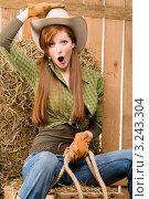 Купить «Портрет радостной рыжеволосой наездницы в сарае, ковбойская шляпа», фото № 3243304, снято 30 марта 2011 г. (c) CandyBox Images / Фотобанк Лори
