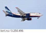 """Купить «Самолет Boeing 737-505 авиакомпании """"Нордавиа"""" приземляется на взлетную полосу аэродрома», эксклюзивное фото № 3250496, снято 11 февраля 2012 г. (c) Николай Винокуров / Фотобанк Лори"""
