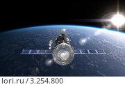 Космический корабль на орбите Земли, иллюстрация № 3254800 (c) Александр Володин / Фотобанк Лори