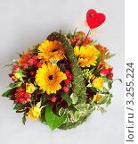 Купить «Цветочная корзина с сердечком и божьей коровкой», фото № 3255224, снято 14 февраля 2012 г. (c) Елена Шуршилина / Фотобанк Лори