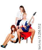 Купить «Три девушки с электрогитарой на белом фоне», фото № 3256512, снято 23 октября 2018 г. (c) Сергей Буторин / Фотобанк Лори