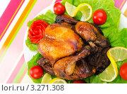 Купить «Курица гриль с овощами и лимоном на полосатой салфетке», фото № 3271308, снято 20 августа 2011 г. (c) Elnur / Фотобанк Лори