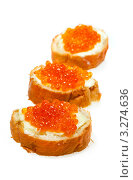Купить «Бутерброды с красной икрой», фото № 3274636, снято 12 июня 2011 г. (c) ElenArt / Фотобанк Лори