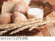 Купить «Хлеб, сухие колосья и стакан молока на плетёном подносе», фото № 3275696, снято 25 марта 2009 г. (c) Игорь Соколов / Фотобанк Лори