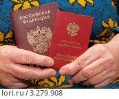 Паспорт и пенсионное удостоверение в руках пожилой женщины. Стоковое фото, фотограф Сергей Боженов / Фотобанк Лори