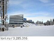 Купить «Строительство совмещенного лыже-биатлонного комплекса для Олимпиады 2014 на плато Псехако, Сочи», фото № 3285316, снято 24 февраля 2012 г. (c) Анна Мартынова / Фотобанк Лори