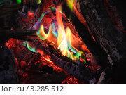 Купить «Необычное зеленое пламя от попавшего в костер удобрения», фото № 3285512, снято 21 октября 2018 г. (c) Алёшина Оксана / Фотобанк Лори