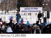 Купить «Митинг в поддержку кандидата в Президенты Путина В.В.», фото № 3289888, снято 18 февраля 2012 г. (c) Оксана Лычева / Фотобанк Лори