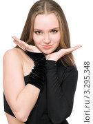 Купить «Портрет красивой улыбающейся девушки в чёрном костюме на белом фоне», фото № 3295348, снято 30 марта 2010 г. (c) Сергей Сухоруков / Фотобанк Лори