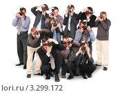 Купить «Группа фотографов с фотоаппаратами, белый фон», фото № 3299172, снято 27 мая 2020 г. (c) Losevsky Pavel / Фотобанк Лори