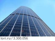 Купить «Небоскреб на фоне синего неба, вид снизу», фото № 3300056, снято 4 января 2010 г. (c) Losevsky Pavel / Фотобанк Лори