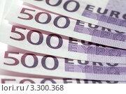 Купить «Купюры достоинством 500 евро крупным планом», фото № 3300368, снято 16 января 2010 г. (c) Losevsky Pavel / Фотобанк Лори