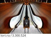 Купить «Эскалатор с деревянными поручнями», фото № 3300524, снято 8 января 2011 г. (c) Losevsky Pavel / Фотобанк Лори