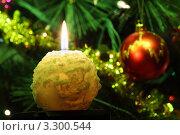 Горящая свеча на фоне новогодней елки. Стоковое фото, фотограф Losevsky Pavel / Фотобанк Лори