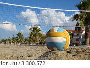 Купить «Мяч для пляжного волейбола лежит в песке на фоне сетки», фото № 3300572, снято 31 июля 2010 г. (c) Losevsky Pavel / Фотобанк Лори