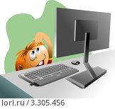 Купить «Мальчик и компьютер», иллюстрация № 3305456 (c) Vasiliev Sergey / Фотобанк Лори