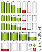 Купить «Набор значков разной степени заряда аккумулятора, батареи», иллюстрация № 3307544 (c) Michael Travers / Фотобанк Лори