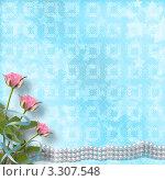 Букет из роз и жемчужные бусы на голубом фоне. Стоковая иллюстрация, иллюстратор Lora Liu / Фотобанк Лори