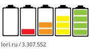 Купить «Иллюстрация разной степени заряда аккумулятора», иллюстрация № 3307552 (c) Michael Travers / Фотобанк Лори