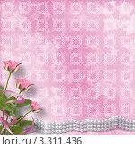 Розовый фон с цветами и жемчугом. Стоковая иллюстрация, иллюстратор Lora Liu / Фотобанк Лори