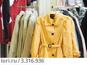 Купить «Разноцветные женские плащи на вешалке в магазине», фото № 3316936, снято 20 января 2019 г. (c) Дмитрий Калиновский / Фотобанк Лори