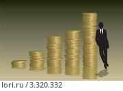 Силуэт бизнесмена около диаграммы золотых монет, столбы. Стоковая иллюстрация, иллюстратор Michael Travers / Фотобанк Лори