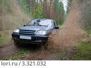 Брызги из под колес автомобиля едущего по грязи. Стоковое фото, фотограф Olsi / Фотобанк Лори