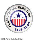 Купить «Круглый значок американских президентских выборов 2012 в США», иллюстрация № 3322892 (c) Michael Travers / Фотобанк Лори