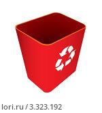 Купить «Красная корзина для мусора со значком переработки», иллюстрация № 3323192 (c) Michael Travers / Фотобанк Лори