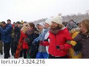 Веселая группа людей на зимнем празднике (2012 год). Редакционное фото, фотограф Потолоков Роман Игоревич / Фотобанк Лори