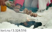 Молодые люди жарят сосиски на открытом огне. Стоковое видео, видеограф Владимир Никулин / Фотобанк Лори