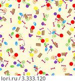 Цветной конфетный паттерн для обвертки. Бесшовный фон. Стоковая иллюстрация, иллюстратор Alexi Bradich / Фотобанк Лори