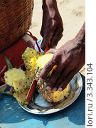 Купить «Продавец на пляже нарезает ананас», фото № 3343104, снято 16 ноября 2011 г. (c) Татьяна Четвертакова / Фотобанк Лори