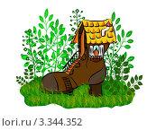 Маленький домик из ботинка. Стоковая иллюстрация, иллюстратор Воробьева Надежда / Фотобанк Лори