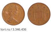 Купить «Английская монета достоинством 1 новый пенни», фото № 3346436, снято 26 мая 2019 г. (c) Грачев Игорь / Фотобанк Лори