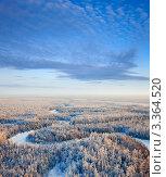 Вид сверху на зимний лес с рекой. Стоковое фото, фотограф Владимир Мельников / Фотобанк Лори