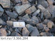 Потерянная доминошка на фоне камней. Стоковое фото, фотограф Андрей Радченко / Фотобанк Лори