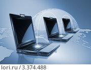Ноутбуки на карте мира, фото № 3374488, снято 6 марта 2012 г. (c) Sergey Nivens / Фотобанк Лори