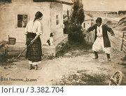 Купить «Старая  дореволюционная открытка. Пьяный мужчина пришёл домой», иллюстрация № 3382704 (c) Игорь Низов / Фотобанк Лори